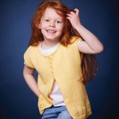 PT 8483 - Cotton Sleeveless Cardigan with Daisy Border