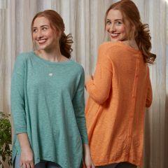 Style BT Back Button Cotton/Linen Top