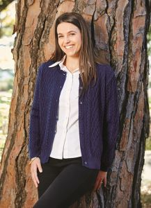 Style AQ - Ladies Cabled Cardigan