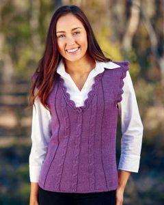 PT 8409 - Cabled Vest with Crochet Neck
